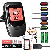 INVOKER Grillthermometer Bluetooth,Funk Fleischthermometer Digital,Wireless BBQ Thermometer mit 6 Sonden,Rechtzeitiger Alarm und LCD-Anzeige, Unterstützt IOS Android für Küche Grill Backen