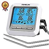 TOPELEK Thermometer Küche Digitales Grill Thermometer Bratenthermometer Fleischthermometer 2 Sonden Haushaltsthermometer Temperatur Voreinstellung, Küchenwecker, Sofortiges Auslesen für Küche, Grill