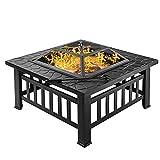 H-BEI 3 in 1 Quadratische Feuerstelle BBQ Grill – Holzkohlegrill/Garten-Heizung/Eisgrube mit Mesh-Siebdeckel, Garten Quadratischer Tischofen Outdoor Rauchgrill