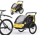 Fiximaster 360° Drehbar Kinder Fahrradanhänger Transportwagen Kinderwagen Zweisitzer Baby Kinder mit Griffbremse und Radschutz BT502 Gelb