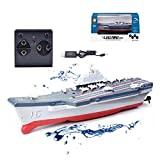 2.4G Mini RC Cruiser Spielzeug, Wireless Electric Naval Ship Vessel Flugzeug Carrier Toy Remote Control Boat Speedboat Water Toy for Kids Adults Boys Girls (Rot)