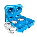 Tendia Silikon-Eiswürfelschale 4-Fach Diamant-Eiswürfelschale Form Wiederverwendbarer 3D-Diamant-Eiswürfelbereiter für Whisky-Cocktail-Getränke Eiswürfelbehälter
