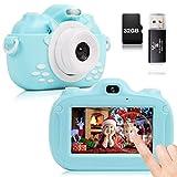 YUNKE Kinderkamera, 3,0-Zoll-HD-Touchscreen-Digitalkamera mit 30MP 1080P 32G Speicherkarten-Kartenleser für Kinder zum Neujahrsfest zum Geburtstag für Kinder im Alter von 2-10 Jahren (Blau)