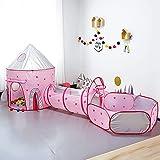 Achort 3 in 1 Spielzelt Kinderzelt, Babyzelt mit krabbeltunnel, Spielzelt Babyzelt, Spielhaus mit Zelt Tasche und Tunnel für drinnen und draußen, Rosa