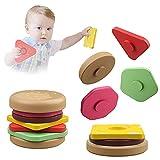 Junyobee Hamburger Stapelspiel - Montessori Holzspielzeug Motorikspielzeug Babyspielzeug - Holz Stapel Spielzeug für Kleinkind Baby Kinder ab 6 9 12 Monate 1 2 3 Jahr Steckspiel Stapelturm