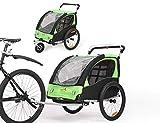 Fiximaster 360° Drehbar Kinder Fahrradanhänger Transportwagen Kinderwagen Zweisitzer Baby Kinder mit Griffbremse und Radschutz BT502 Grün