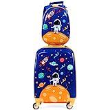 COSTWAY 2tlg Kinderkoffer + Rucksack, Kindertrolley aus Kunststoff, Kindergepäck, Kinder Kofferset Handgepäck Reisegepäck Hartschalenkoffer für Jungen und Mädchen (Blau, 12'+18'')