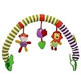 BSTCAR Spielbogen für den Kinderwagen aus Flexiblem, Kinderwagen-Spielbogen mit Rassel-Spielzeug, universelle Befestigungsclips passend für jeden Kinderwagen, Kinderwagen oder Autositz