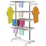 HOMCOM Mobiler Wäscheständer Wäschetrockner-Turm Seitenflügel auf 3 oder 4 Ebenen klappbar (4 Ebenen)