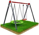 K-Sport 𝐄𝐧𝐝 𝐨𝐟 𝐒𝐮𝐦𝐦𝐞𝐫 𝐒𝐩𝐞𝐜𝐢𝐚𝐥 Metall-Gartenschaukel mit Storchennest & Schaukel für Kinder I Doppelschaukel bis 150kg belastbar I stabile & sichere Outdoor Kinderschaukel