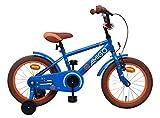 Amigo Sports - Kinderfahrrad für Jungen - 16 Zoll - mit Handbremse, Rücktritt, Lenkerpolster und Stützräder - ab 4-6 Jahre - Blau