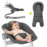 Hauck Newborn Aufsatz Bouncer Premium für Hochstuhl Alpha & Beta ab Geburt - 2in1 Babyaufsatz (Liege & Wippe) für Neugeborene mit verstellbarer Rückenlehne & Baumwolle - Dunkelgrau