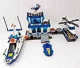 Wasserschutzpolizei Bausteine Polizeistation mit Polizei Hubschrauber, Polizeiboot und Schnellboot