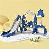 WZFANJIJ Kinder Spielhaus mit Rutsche Schaukel Kunststoff Spiel-Turm Kletter-Haus für Drinnen Draußen Premium Qualität,Blue