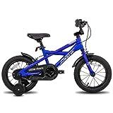 STITCH Little Rock 18 Zoll Kinderfahrrad für Jungen Mädchen 5-9 Jahre mit Stützrädern Vorderrad Handbremse Kinderfahrrad Starker RahmenBlau