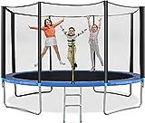 Blackpoolal Gartentrampolin, Bounce Jump Fitness Trampolin mit Sicherheitsnetz, Leiter, Springmatte, Sport Kinder Outdoor Trampolin mit GS TÜV getestet, bis zu 150 kg für Kinder Erwachsene (183cm)