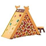Zelt Spielhaus für Kinder 4in1 Multifunktionales - Spielzelt für Drinnen- mit Klettergerüst Stuhl Tafel Tür -Kinderzelt Klappbar Durch Zubehör für Jungen Mädchen 3+ Orange