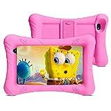 Pritom Kids Tablet, 32 GB ROM, Kinder-Tablet, Quad-Core-Prozessor, HD-IPS-Display, 7-Zoll-WLAN-Android-Tablet, Kindersicherung, Bluetooth, Dual-Kamera, Tablet für Kinder (Rosa)