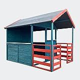 Kinderspielhaus XL 146x195x156cm mit Wohnbereich und Veranda, Gartenhaus für Kinder in Rot/Blau
