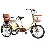 ZFF 20 Zoll Zusammenklappbar Seniorenrad Lastenfahrrad Trike Bike Radfahren mit Korb und Rücksitz für Erwachsene und ältere Menschen Outdoor-Sportarten (Color : Beige)