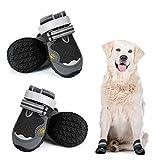 Dociote Anti-Rutsch Hundeschuhe Pfotenschutz mit verstellbarem & Reflektierendem Klettverschluss 4 Stück für mittelgroße große Hunde für Sommer Schwarz 5#