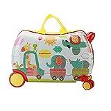 HMYLI Kinderkoffer, Handgepäck für Kinder,Trolley - Bag hardschalen-Koffer und Spielzeug 2 in 1,Weiß