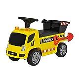 HOMCOM Sitzbagger für Kinder Rutscherfahrzeug mit Kippen Eimer und Schaufel Fuß Rutscherauto unter Sitz Lagerung für Baby 18-36 Monaten Metall PP-Kunststoff Gelb 72 x 28,2 x 42 cm