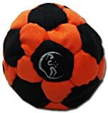 Pro Hacky Sack 32 Paneelen (Schwarz/Orange) Profi Freestyle Footbag! Hacky Sack für Anfänger und Profis, ideal für Stände, Fänge, Verzögerungen u. Tritte!