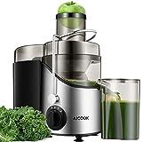 Entsafter Gemüse und Obst, 75MM Große Einfüllöffnung Zentrifugaler Entsafter mit 2 Geschwindigkeiten, rutschfeste Füße, Edelstahl, BPA frei
