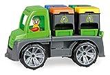 Lena 04453 - Truxx Recycling Truck Müllwagen, Müllfahrzeug ca. 26 cm, robuster Müll LKW, Müllauto mit Funktion, 2 Doppel Mülltonnen und vollbeweglicher Spielfigur, für Kinder ab 2 Jahre, grün