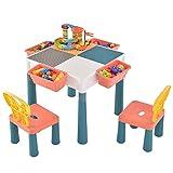 ACDBDY 6 in 1 Kinder Aktivitätstisch Spieltisch mit and 83pcs Mini Bausteine,Kinderschreibtisch mit Stauraum, Kindersitzgruppe Bausteintisch Sandtisch Wassertisch mit 2 Stühlen