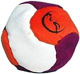 Profi Footbag 6 Paneelen (Lila/Orange/Weiß) Pro Freestyle Footbag! Hacky Sack für Anfänger und Profis, ideal für Stände, Fänge, Verzögerungen u. Tritte!