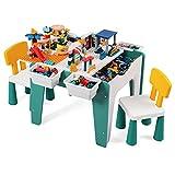 XIAOJU Kindersitzgruppe - Toys Kinder Tisch und 2 Stühle, Plastik-Tisch- und Stuhlset für Kinder Kindermöbel für Mädchen & Jungen, Benutzt für Wohnzimmer Kinderzimmer Kindergarten