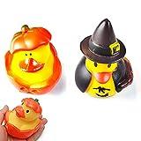 2Stück Halloween Kürbis Ente Bad Sound Spielzeug Mini Kürbis Ente Schwimmende Badewanne Spielzeug Passend für Kind Jungen Mädchen Kleinkind Kinder