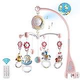 Mini Tudou Baby Musik Crib Mobile Babybett mit Timing-Funktion Projektor und Lichtern, hängenden rotierenden Rasseln und ferngesteuerter Spieluhr mit 150 Melodien, Spielzeug für Neugeborene(Rosa)