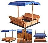 Home Deluxe - Sandkasten Buddelkiste - Mit verstellbarem Dach und Bodenplane - Maße: 110 x 110 x 110 cm - inkl. komplettem Montagematerial | Sandspielkasten Holzsandkasten Sandspielzeug