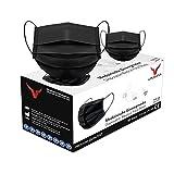 URUSANA 50 Stück Medizinische Masken Schwarz OP Masken Schwarz CE Zertifiziert EN14683 TYP IIR BFE ≥ 98% Schwarze Gesichtsmaske Medizinischer Mundschutz schwarz Mund Nasenschutz schwarz