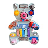 primrosely Busy Boar-d Motoriktafel Spielzeuge Educational Learning Board Bärenform Wooden Activity Board Toys Frühförderungsinstrumente und Feinmotorik für Kinder Brettspiel-Lerngeschenk