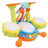 Kinder Trommel Set Spielzeug Musikinstrumente für Kinder Elektronische Klaviertastatur mit 2 Trommelstöcken, Mikrofon, Ideales Geschenk für Jungen und Mädchen ab 3 Jahren(Gelb)