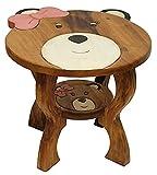 IMAGO Kindertisch aus massiven natürlichen Holz, Kindersitzgruppe, Holztisch, Tisch mit Teddy mit Schleife
