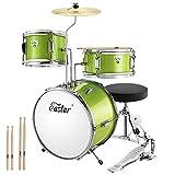 Eastar Schlagzeug Kinder 3-teilig für 3-10 Jahre, Schlagzeug Set mit Snare, Tom, Bass Drum, Bass Drum Pedal, Thron, Becken und Drumsticks, Ideale Geschenk für Kinder Teenager Anfänger, Metallisch Grün