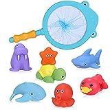 Vacoulery Badespielzeug für Baby ab 1 2 3 Jahr, 8 Stück Badewanne Spielzeug Kinder Wasserspielzeug Baby Nettes Badewannenspielzeug Wasserspritztiere mit Fischernetz für Baby Badewanne