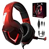 PS4 Kopfhörer mit Kabel und Mikrofon für PC Over Ear Kinder NEEDONE K19 Gaming Headset with mic Computer PS5 Xbox One Nintendo Switch Laptop Mac Playstation 4 Smartphone Stereo Bass Sound Rot