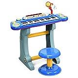 COSTWAY 37 Tasten Klaviertastatur mit Hocker, Kinder Keyboard mit Ständer und Mikrofon, Klavier Spielzeug elektronisch, Musikinstrument mit Lichter, Aufnahme- und Abspiel-Funktion (Blau)