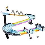 Hot Wheels GXX41 - Mario Kart Regenbogen-Boulevard Rennstrecke mit 2Aufbaumöglichkeiten, 2,5Meter langes Trackset, 2Fahrzeugen im Maßstab 1:64, ab 4 Jahren