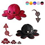 Lidy Bidy Stimmungs Oktopus Kuscheltier doppelseitig zum Wenden - in 3 Größen - EU Spielzeugsicherheit getestet - Reversible Mood Octopus Plüschtier