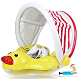 EDWEKIN® Einzigartiger Baby Schwimmtrainer mit abnehmbarem Sonnendach, Ente Schwimmring Baby, Baby Schwimmhilfe mit Sonnenschutz, Schwimmreifen für Babys, Kleinkinder, S