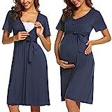 ADOME Frauen Pflege/Geburt/Krankenhaus Nachthemd Kurzarm Nachthemd Umstandsnachthemd mit Knopf Stillnachthemd für Schwangere und Stillzeit, B-dunkelblau, L