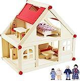 rcee Puppenhaus aus Holz für Puppen, Puppenstube mit 2 Etagen, 4 Puppen und 9 Möbel, Tragegriff (2 Etagen Puppenhaus)