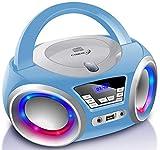 CD-Player mit LED-Beleuchtung | Kopfhöreranschluss | Tragbares Stereo Radio | Kinder Radio | Stereoanlage | USB | CD/MP3 Player | FM Radio | Kopfhöreranschluss | Aux In